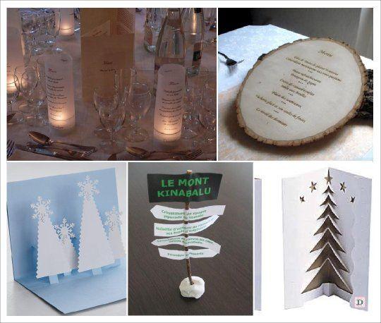 mariage hiver menu rondin photophore panneau sapin i. Black Bedroom Furniture Sets. Home Design Ideas