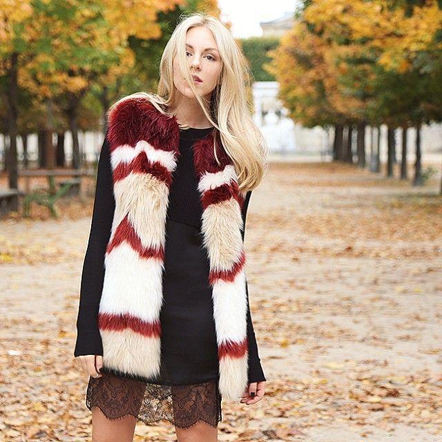 enjoying fall last week in Paris. Faux fur vest by @scotch_official .  by  @Rumi Neely