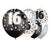 Zwarte-Glitter-16-Jaar-Gelukkige-Verjaardag--30-cms-Latex-Ballonnen-Verpakking-per-6-Geassorteerd-Kleuren Image