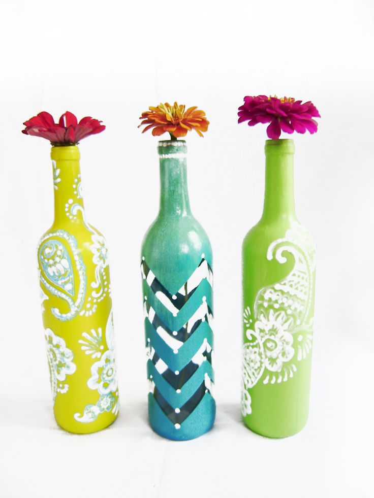 Yellow, Chevron, Lime Wine Bottles.I am selling hand painted henna style wine bottles.