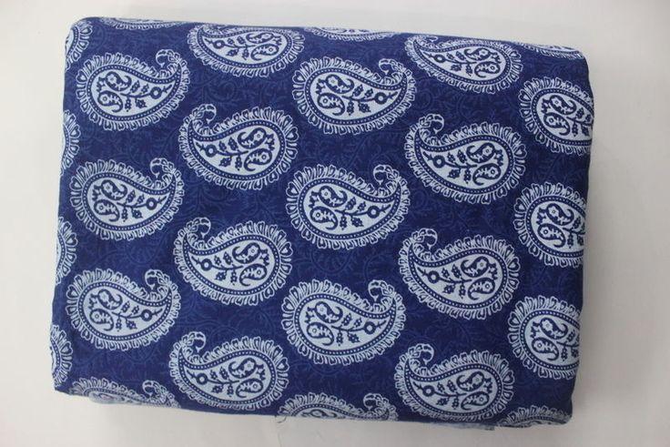 1Yard HandBlock Indigo Blue Bagru Print 100% Pure Cotton Fabric Printed Fabric 2