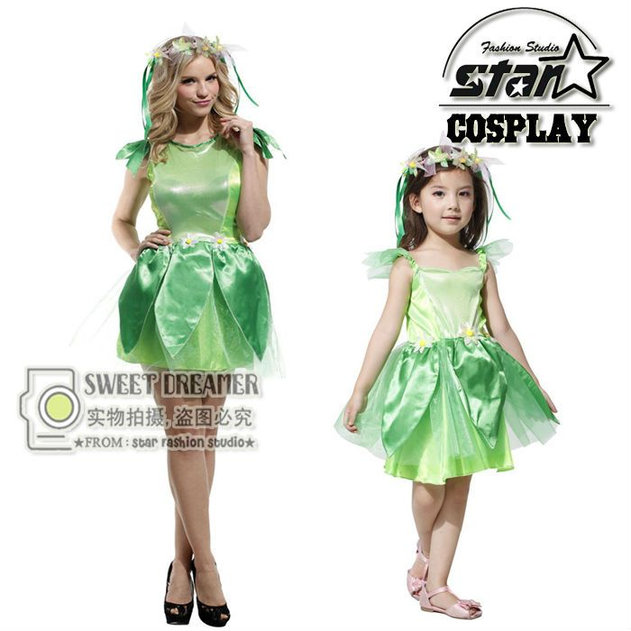 Wizard of Oz Halloween Costumes For Mommy Girls Family Matching Elf Princess Dress Elves Flower Fairy Stage Costume Cosplay