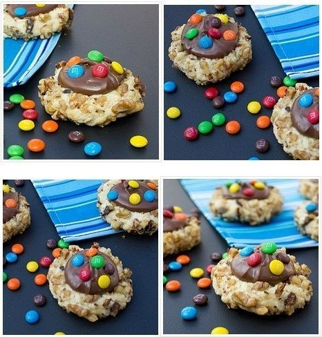 ореховое печенье с шоколадной пастой и М&Ms