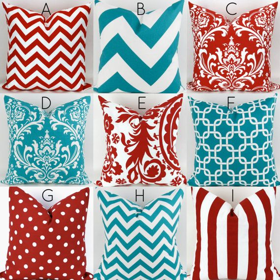 Turquoise & Red Pillow Covers  -20x20 - Mix/Match patterns cushion sham euro throw modern teal custom nursery decor PremierPrints