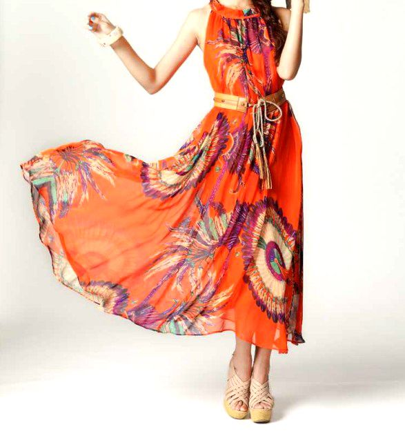 Colourful sheer voluminous maxi dress with belt - perfect for Autumn skin tone palettes... buy now from VICTORS CROWN ONLINE