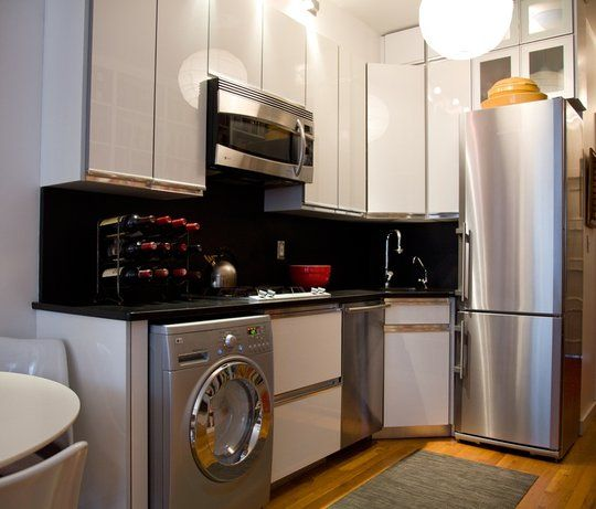 Beautiful Efficient Small Kitchens: Love That Fridge. The Washing Machine In The Kitchen