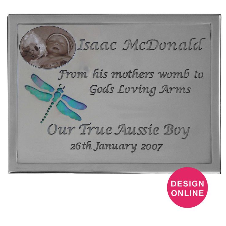Baby Stainless Steel Light Transmitting Plaque designed by Forever Shining Australia. Design yours now on our website. Order Online - Ship World Wide