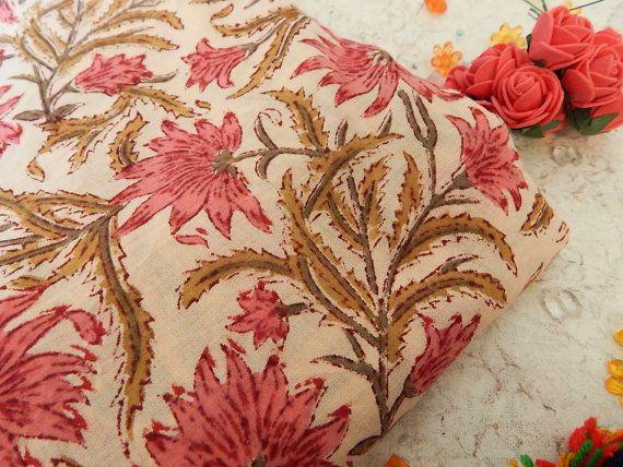 1 erf van perzik blok Print stof met Indiase katoenen door Craftise