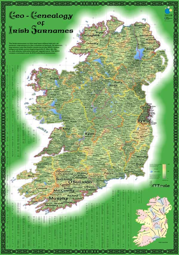 Map of Irish Surnames from 1890 Census