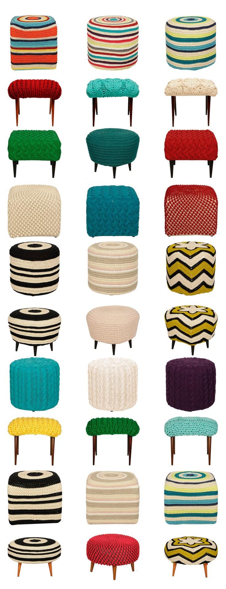 capas para banquinhos e pufes em tricô e crochet