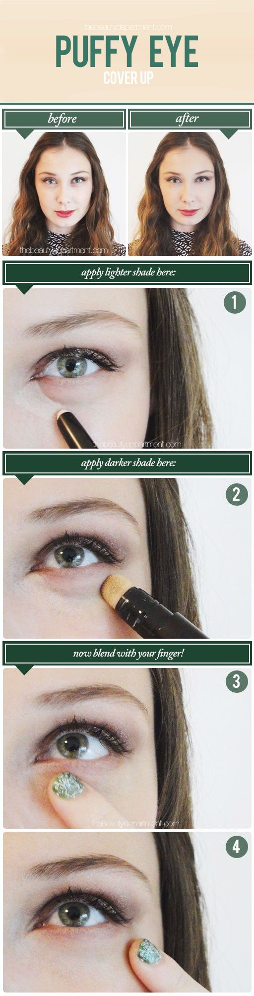 Puffy Eyes Cover-up | Step-by-Step Tutorial | Got them under eye puffs in the morning? Follow this step by step tutorial to learn how to conceal your puffy eyes!