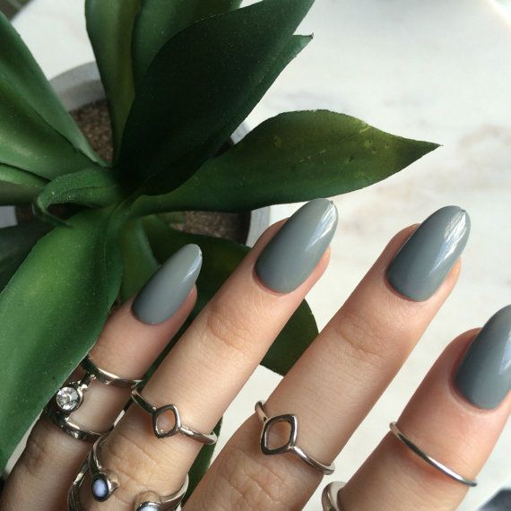 Gloss grey oval nails, hand painted acrylic nails, fake nails, false nails…