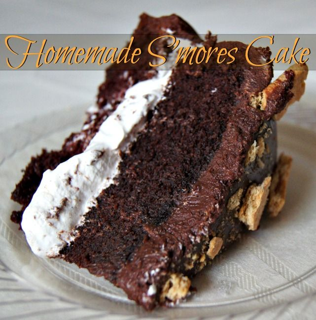 Homemade s'mores cake. Moist chocolate cake, creamy marshmallow fluff ...