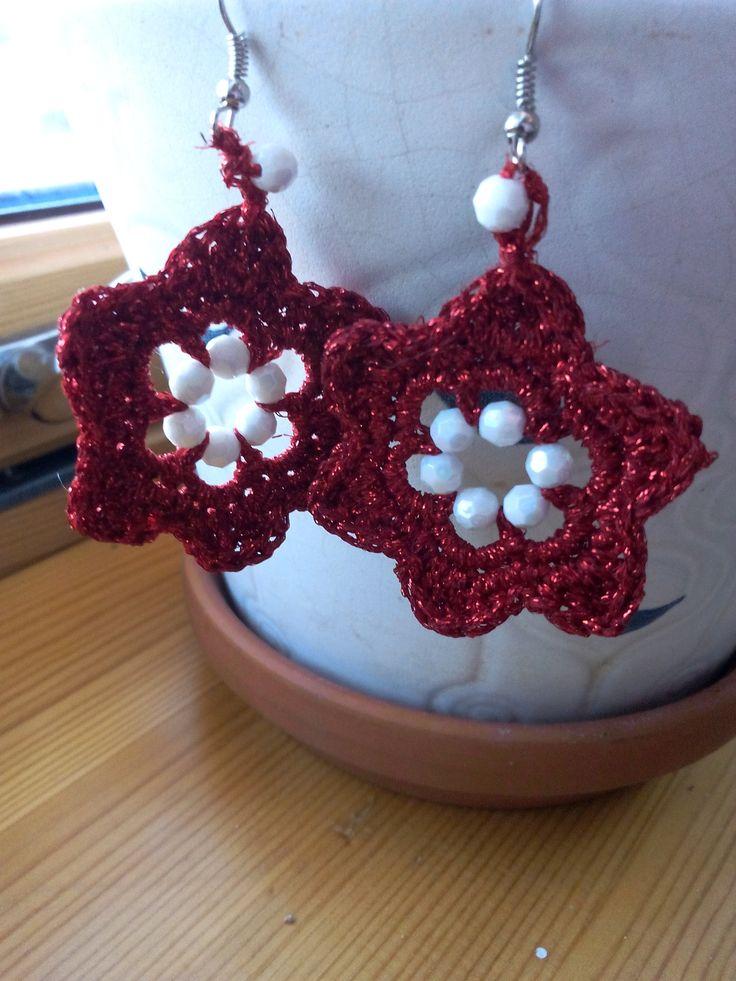 red shiny flowers earrings