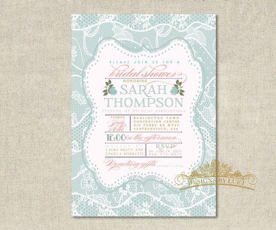 Blue Lace Bridal Shower Invitation - Bridal Shower Invite - Wedding Shower Invitation - DIY Printable - Digital File
