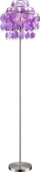 Steh Leuchte lila Wohnraum Beleuchtung Muschel Behang silber Kristall Lampe Globo 16101S