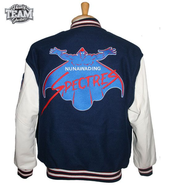 Nunawading Spectres Basketball team custom leather and wool embroidered varsity jacket back by Team Varsity Jackets. www.facebook.com/TeamVarsityJackets www.teamjackets.net