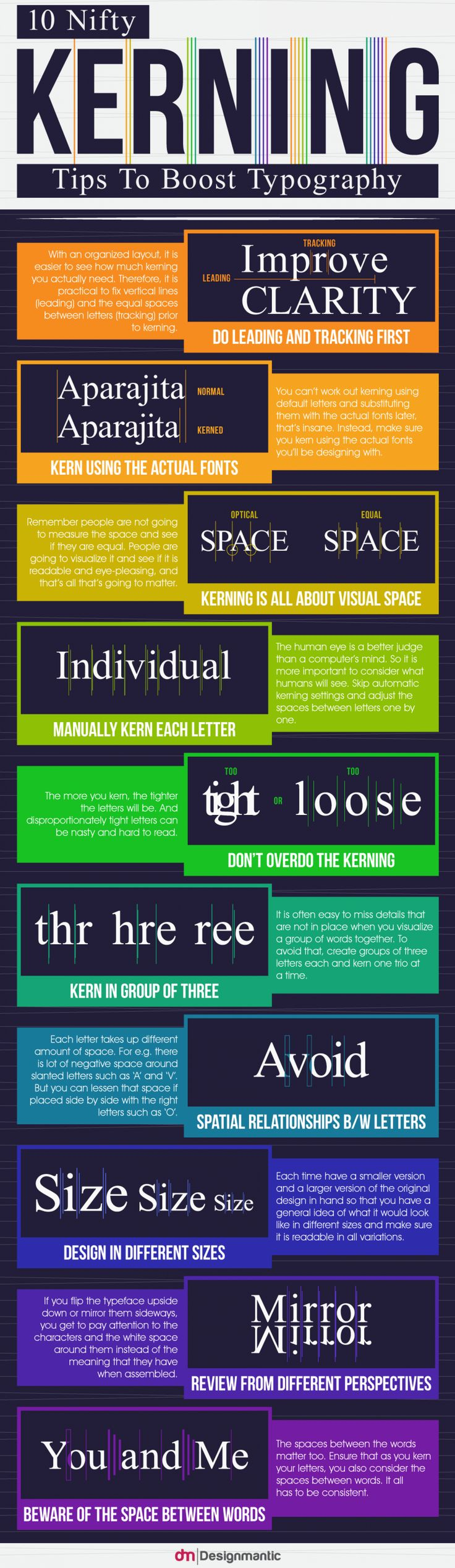 Really good tips for improving your typography through kerning! Useful illustrations too.