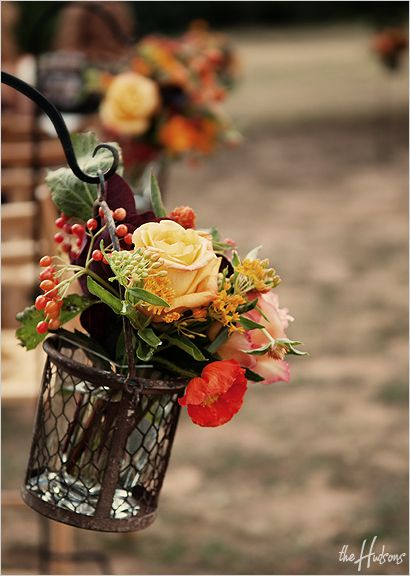 Love these fall-colored arrangements hanging in rustic wire baskets as aisle markers for the ceremony - Photo by Sarah: Aisle Arrangements, Fall Color Arrangements, Aisle Markers, Rustic Wire, Fall Weddings, Wire Baskets, Aisle Decoration, Fall Flower, Arrangements Hanging
