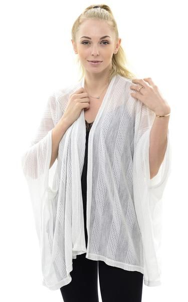 Solid Stripe Kimono Vest Fishnet Spring Summer Stuff 65% Viscose, 35 Polyester One size to fit most