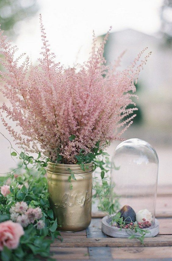 vintage astilbe flower wedding centerpiece / http://www.himisspuff.com/astilbes-wedding-ideas/