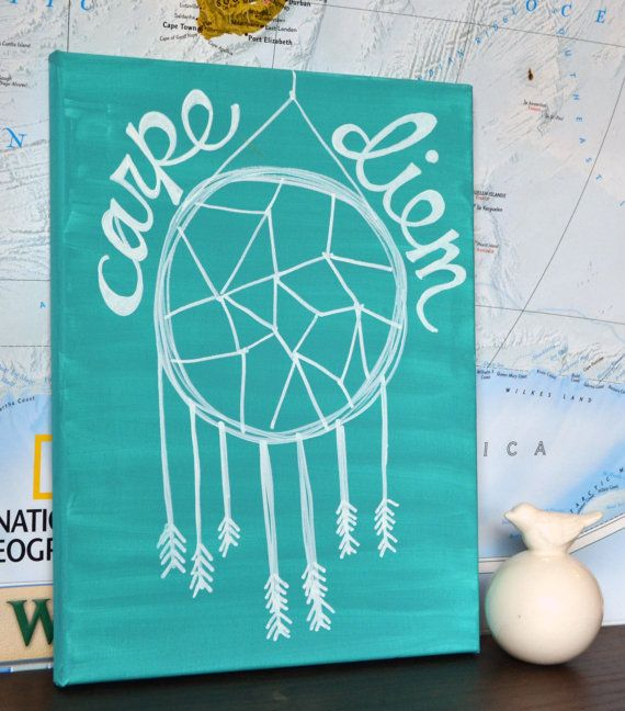 Carpe Diem Canvas Painting Teal or Any Color Dream Catcher  ~ 062437_Dorm Room Canvas Ideas