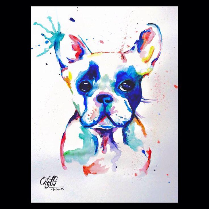 Dog. Drawing. Watercolors