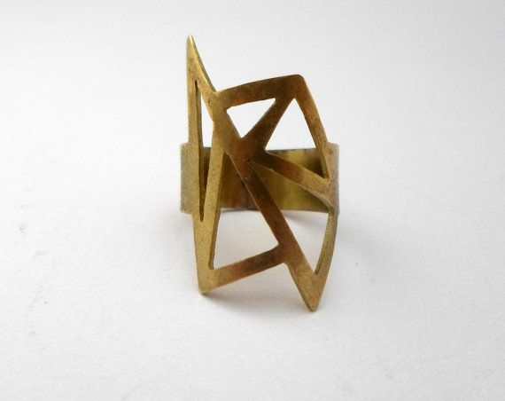 geometric brass ring/geometry ring/brass by AbyCraft on Etsy