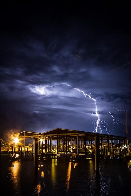 Grand Isle, Louisiana & Lightning; SPECTACULAR SHOT!