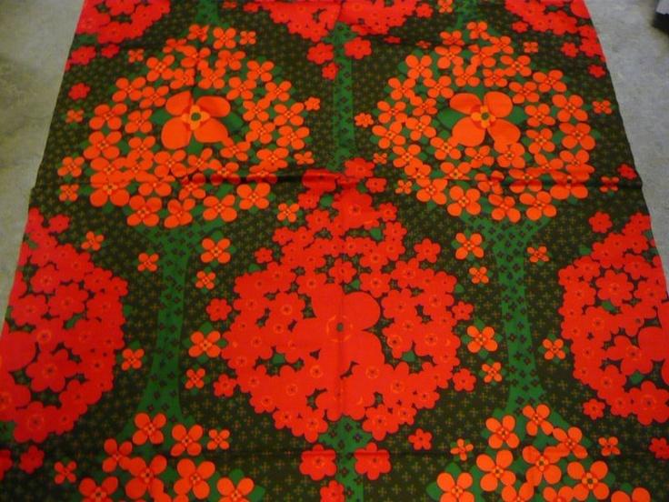 "Tampella Finland Marjatta Metsovaara ""Katinka"" Vintage Fabric Early 80's."