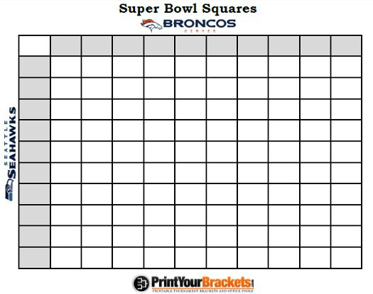 Printable super bowl squares 100 grid office pool nfl for Free super bowl pool templates