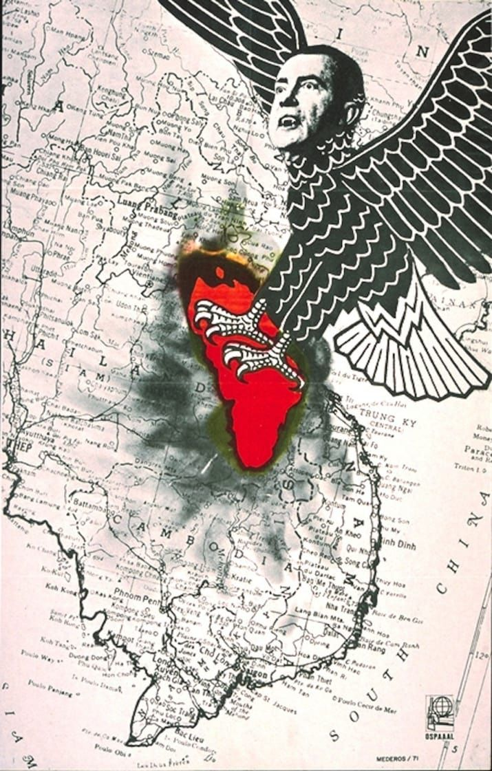 Artist: René MederosNixon is depicted as a vulture that is carpet-bombing Cambodia and Laos.