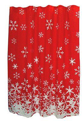 Christmas Red Fabric Shower Curtain Snowflake Rug Hooks Holiday Bathroom Set  NEW