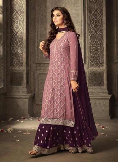 625555791a Pink and Purple Embroidered Sharara Suit | Kurti, Indian & Pakistani Dress  | Pakistani dresses, Sharara suit, Pakistani bridal dresses