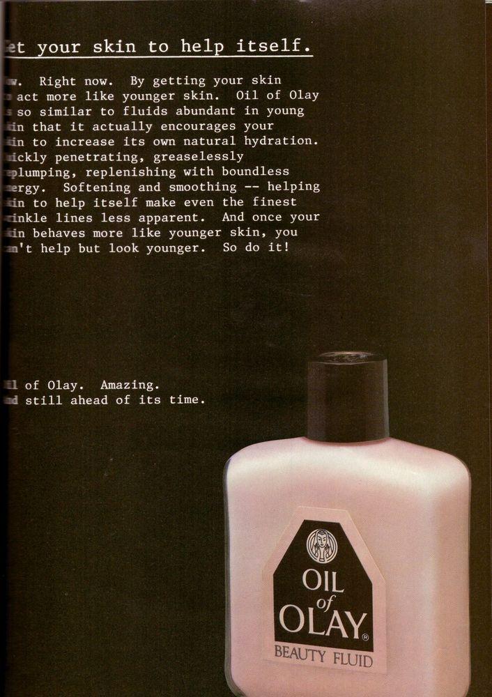 1987 Oil of Olay Moisturizer Skin Cream Print Ad Vintage Advertisement VTG 80s  | eBay