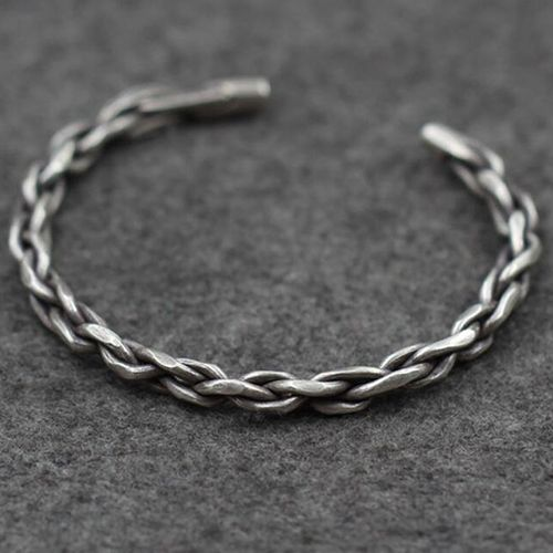 Men's Sterling Silver Braided Cuff Bracelet