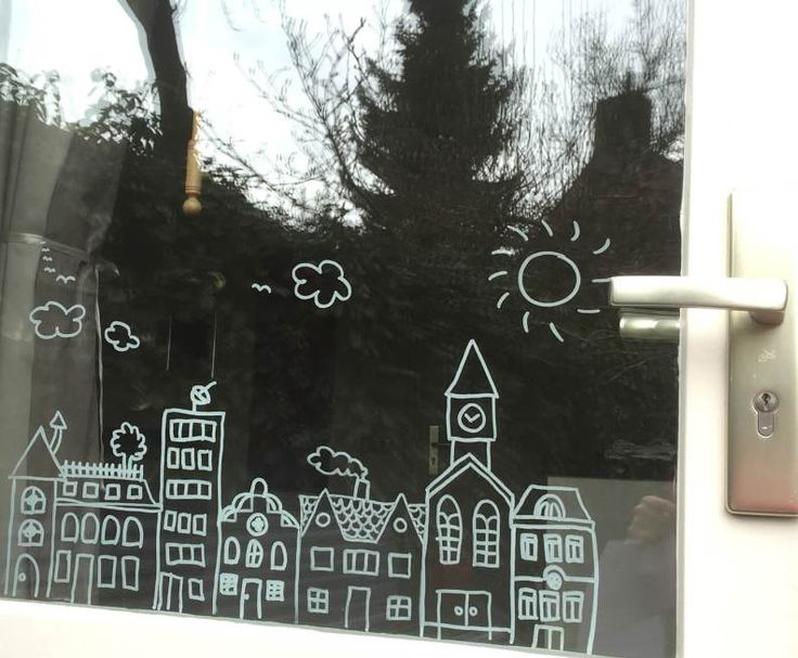 Houses #windowdrawing by Ceciel from http://badschuim.eu (little sun and clouds are her fun additions) #raamtekening