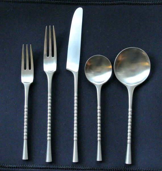 Dansk jette flatware 5 piece setting danish modern ihq design by jens quistgaard two available - Danish modern flatware ...