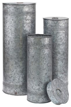 Aged Galvanized Metal Canisters, Set of 3 industrial-kitchen-canisters-and-jars