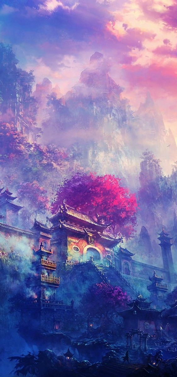 Village in the Mountains | Artwork Scenery Computer Art ...