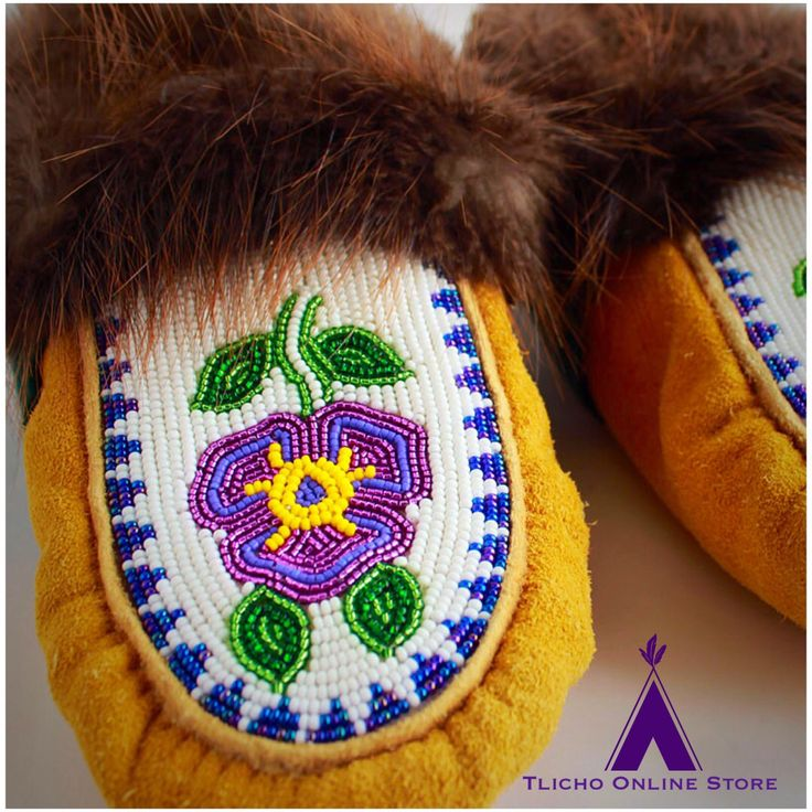 #moccasin slippers made by Caroline Douglas of #Behchoko