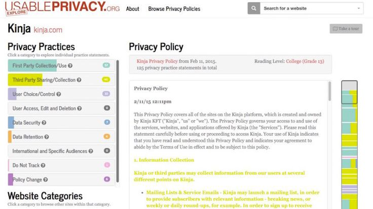 Usable Privacy Shows You What Privacy Policies Actually Mean, in Plain English