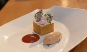 Tom Kerridge's orange spice cake with plum sauce and Christmas pudding ice cream