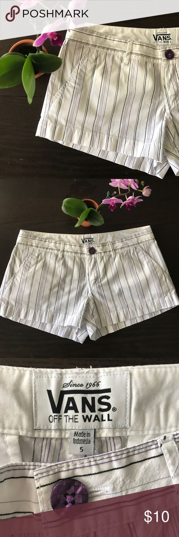"""{Vans} """"Walk This Way"""" Shorts Walk This Way Shorts by Vans, in white with purple and black stripes. Size 5. 2"""" inseam. NWOT. Are you ready for summer? These babies are! *Guaranteed same or next day shipping!* *BUNDLE for a discount!* Vans Shorts"""
