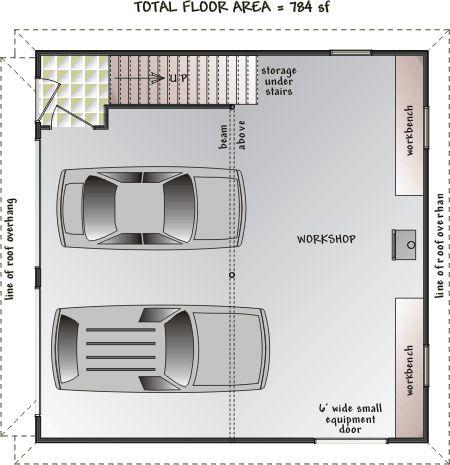 Apartment over garage designs loft floor plan with for Deck over garage designs