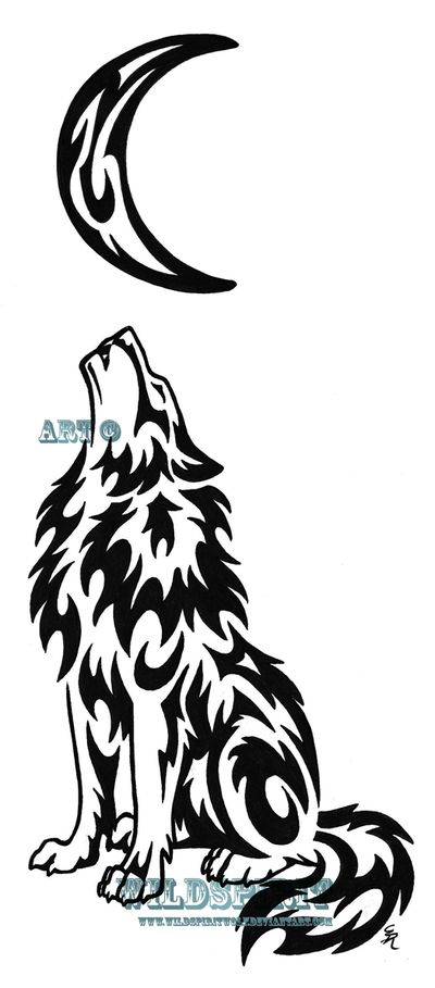 Lonely Wolf And Moon Tattoo by *WildSpiritWolf - The moon would be nearly perfect for my moon and sun tats