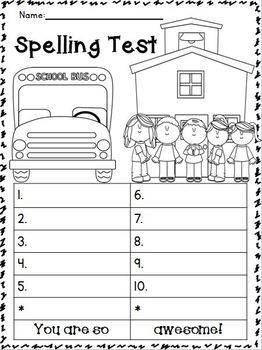 Spelling test printable for Free printable spelling test template