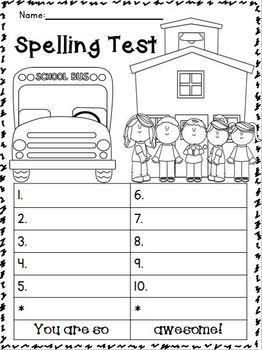 BACK TO SCHOOL SPELLING TESTS FREEBIE!!!! :O) - TeachersPayTeachers.com