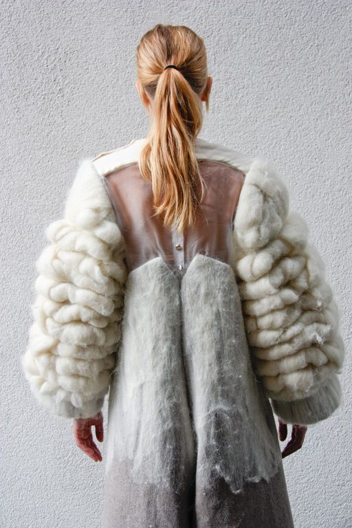Sculptural Fashion - felted coat with textured wool sleeves; 3D fashion; wearable art