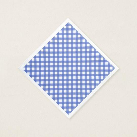Nautical Theme - Navy Blue Gingham Paper Napkins